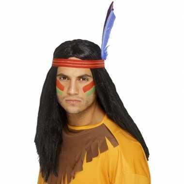Zwarte indianen pruik met veren